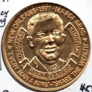 1971 Mardi Gras Token Huey Long Bu L@@k 512 - 1 photo