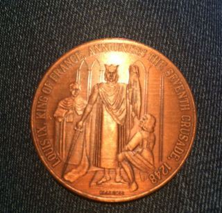 Copper King Of France Crusade Token 1968 Orleans St.  Louis Cathedral Coin photo