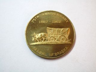 Vintage 1962 Gering Nebraska 75th Anniversary 50 Cents Goldtone Metal Token photo