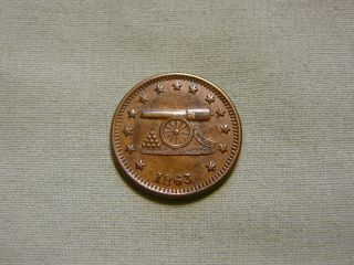 Rare 1863 Civil War Token With Image Of Cannon & Cannon Balls / Army & Navy photo
