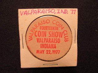 1977 Valparaiso,  Indiana Wooden Nickel Token - Valparaiso Coin Club Wooden Coin photo