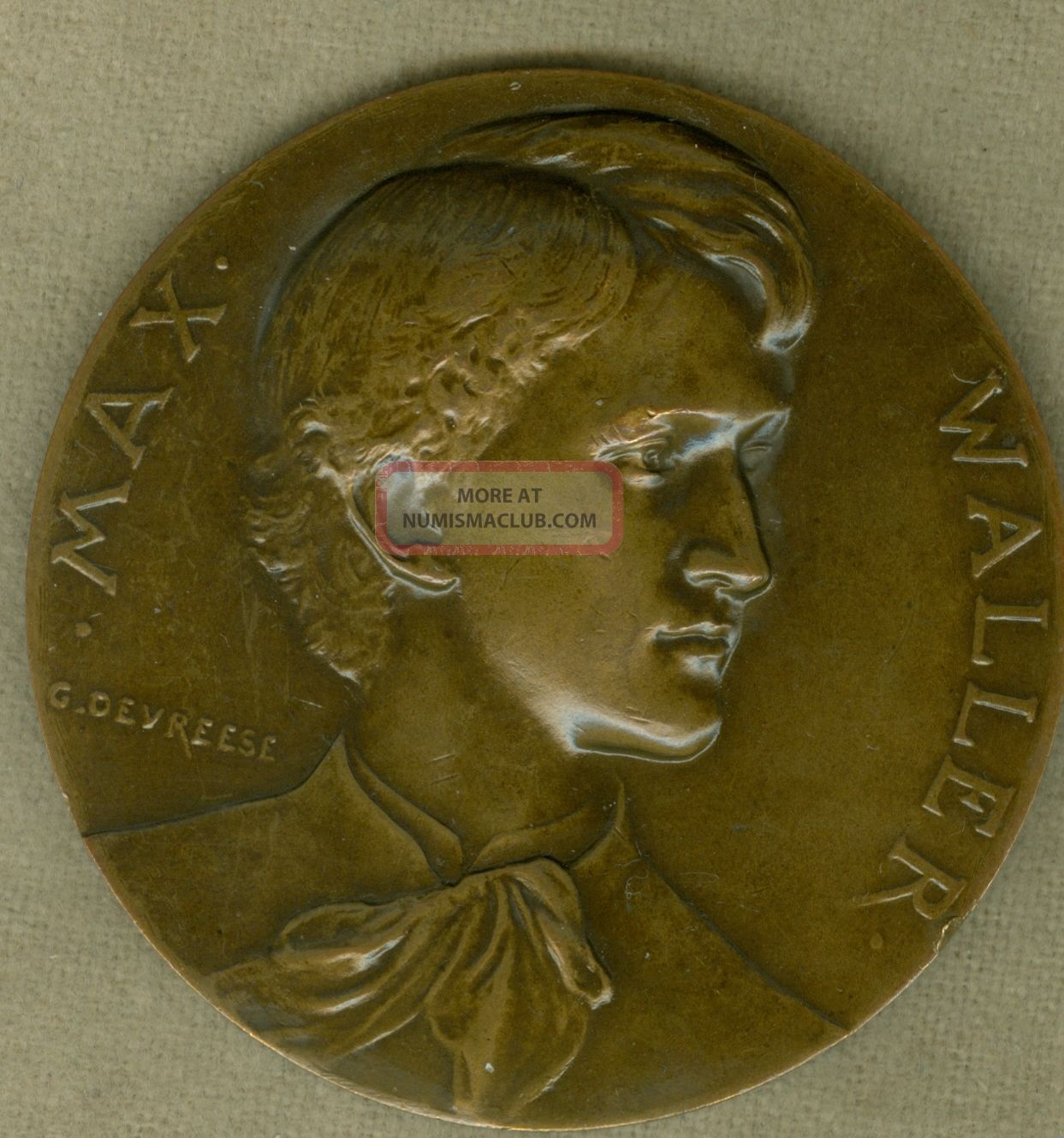 1889 Belgium Medal Issued In Honor Of The Poet Max Waller,  By Devreese Exonumia photo
