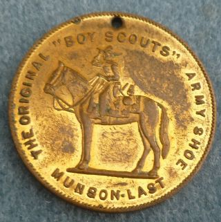 Boy Scouts Army Shoe Munson Last Excelsior Antique Good Luck Token photo