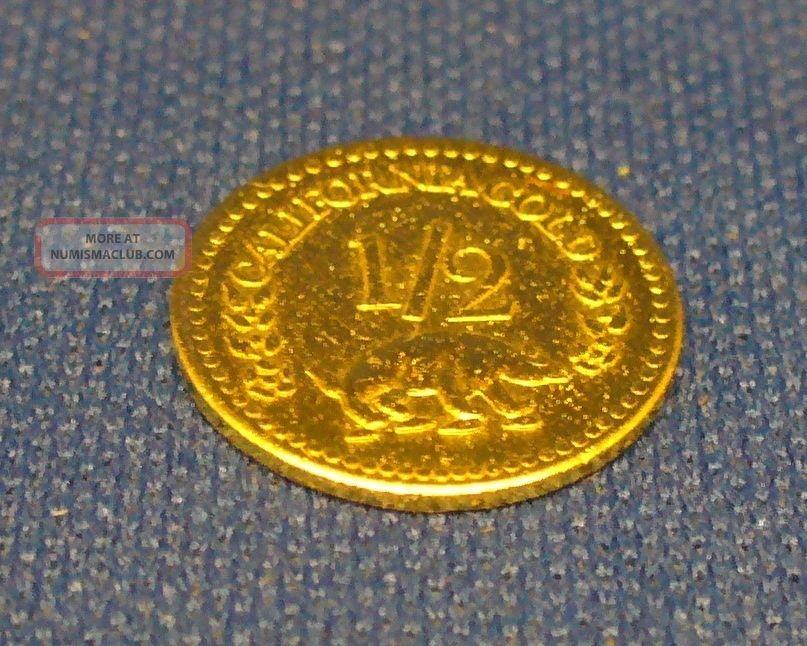 1858 California Fractional Round 1 2 Dollar Gold United States