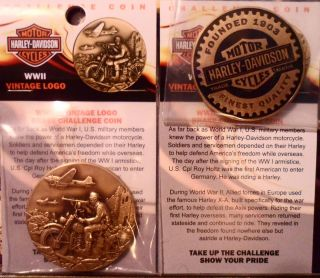 Harley Davidson Wwii Bronze Antique 44mm W/card Challenger Coin Round F/shipping photo