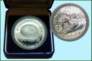 1988 World Expo,  Brisbane,  Silver And Copper Medallions photo