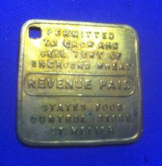 Jersey Channel Islands G.  B.  Brass Square Token.  Revenue Paid To Grow 1 Cwt Wheat photo