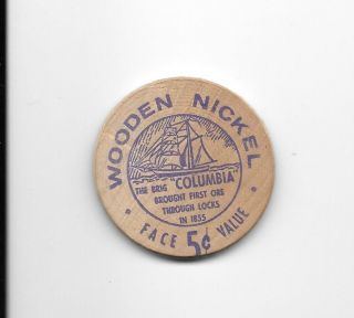 Wooden Nickel - Soo Locks Centennial 1955,  Gf 5c Cash,  Sault Ste.  Marie,  (michigan) photo