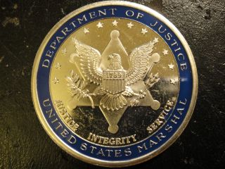 United States Dept.  Of Justice,  Us Marshall Challenge Coin.  District Of Maine. photo