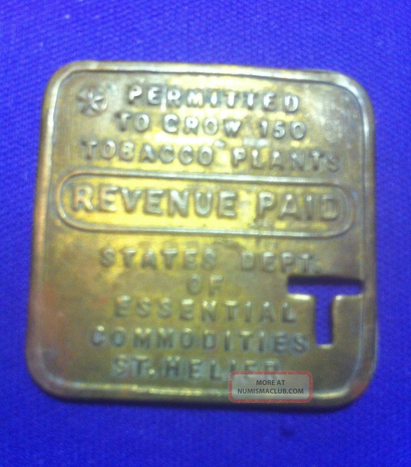 Jersey Channel Islands G B Brass Square Token Revenue