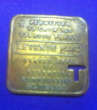Jersey Channel Islands G.  B.  Brass Square Token.  Revenue Paid To Grow 150 Tobacco photo
