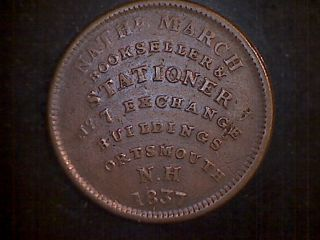1837 U.  S.  Merchant Token Hard Times William Simes N.  H.  Wines Groceries Copper photo