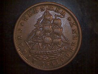 1841 Not One Cent For Tribute Hard Times Token U.  S.  S.  Constitution Webster photo