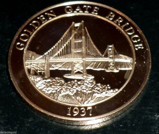 California ' S Golden Gate Bridge Proof Bronze Coin Medal photo