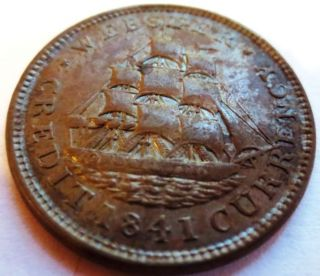 1841 Webster Credit Hard Times Copper Token; Ships & Lightning - Xf photo