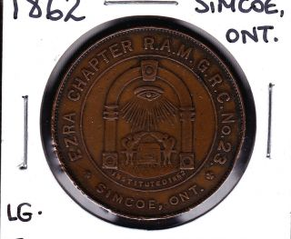 1862 Simcoe Lg,  Ontario,  Canada Masonic One Penny Token Large Lettering photo