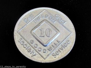 10 Years Numerical Narcotics Anonymous Anniversary Medallion Na Silver Bronze photo