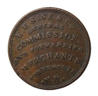 1837 E.  F.  Sise Coal Dealer Importers Hampshire Hard Times Token Ht - 195 photo