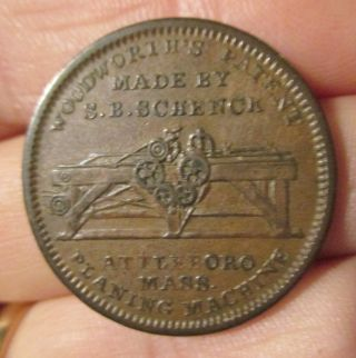 Us Hard Times Token Low 84 Sb Schenck Planing Machine Attleboro Mass 1834 Xf photo