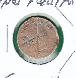 Costa Rica Coffee Token 1 Centavo 1868 Hermanos Peralta photo