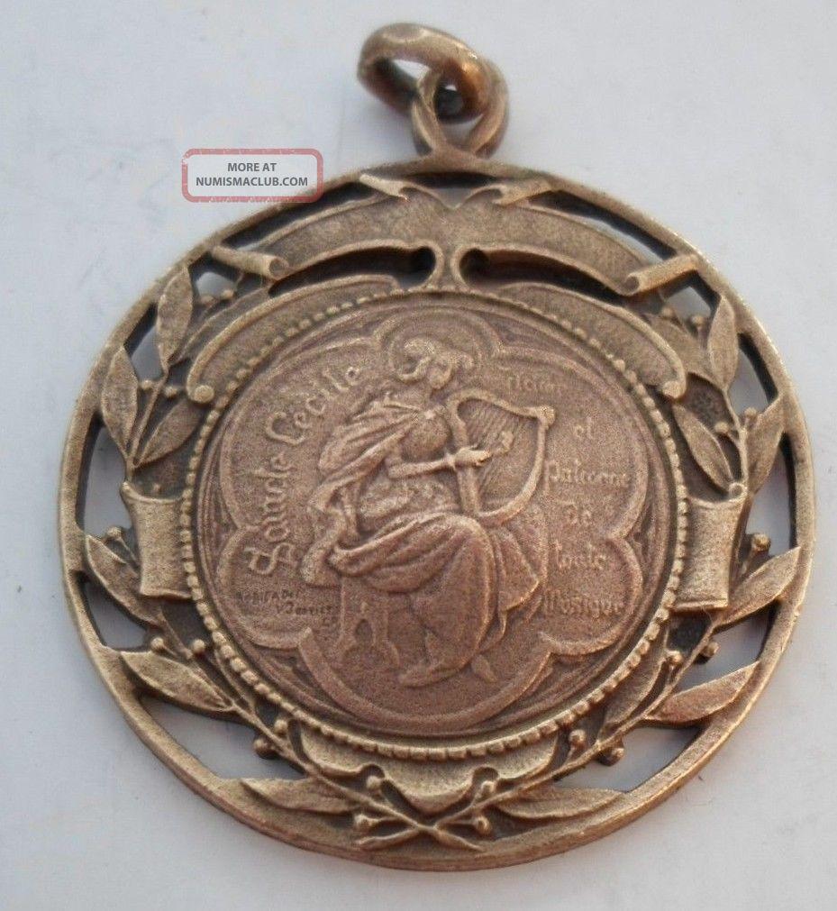 1920s saint cecilia music award french bronze art pendant medal st 1920s saint cecilia music award french bronze art pendant medal st cecile mozeypictures Choice Image