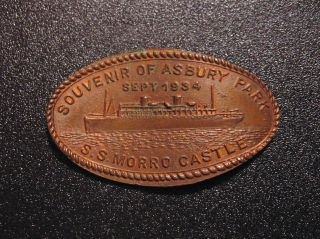 1934 S.  S.  Morro Castle Liner Fire Disaster Asbury Park Nj Elongated Cent Penny photo
