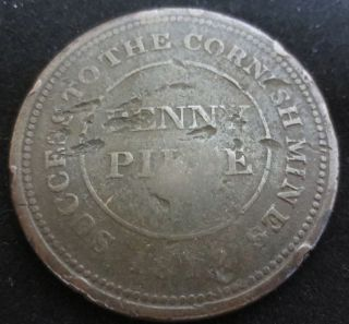 1812 Success To The Cornish Mines Penny Piece Token Coin Circulated photo