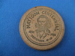 1955 Mattoon Illinois Centennial Wooden Nickel Coin Token photo