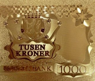 1000 Kroner Gold Plated 24k 999.  9 photo