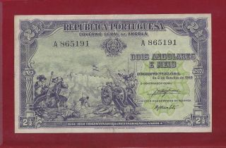 Portugal Angola 2 1/2 Angolares 1948 P - 71 Vf,  Rare (west Africa Equatorial) photo
