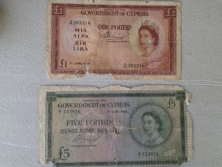 Cyprus 1955 £5 & £1 Queen Elizabeth Ii,  Rare,  Zypern,  Greece,  Chypre,  Chipre,  Cipro photo