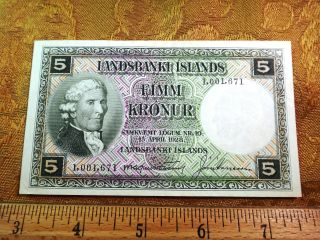 1928 Landsbanki Islands (iceland) 5 Kronur Note - S&h Usa photo
