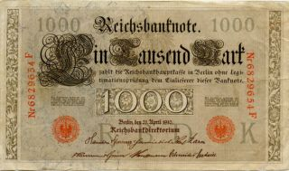1910 NEW LOW GERMANY-  1000 REICHSBANKNOTE P44-B VERY LARGE NOTE