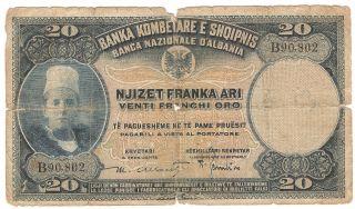 1926 Albania Paper Money,  20fr.  Ar. photo
