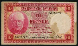 Iceland 15 April,  1928 Landsbanki Islands Ten Kronur Banknote P33a Vf,  Currency photo