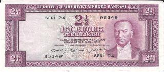 L.  1930 (15.  2.  1960) Turkey 2 ½ Lira P - 153 photo