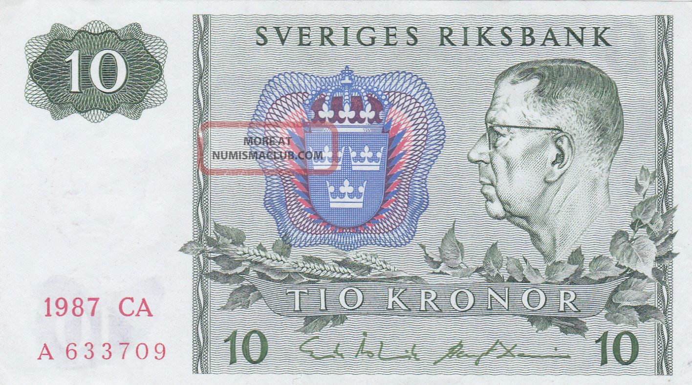 10 Kronor From Sweden 1987 Vf Note Europe photo