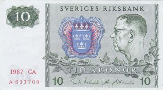 10 Kronor From Sweden 1987 Vf Note photo