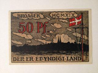 Post Ww1 1919 Kingdom Of Denmark 50 Pfennig Notgeld