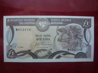 Cyprus 1987 - One Pound Banknote - Uncirculated 1/4/1987 photo