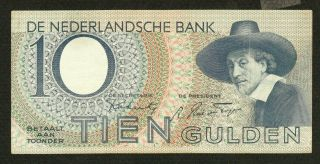 Netherlands 10 Gulden 1943 P59 Xf Rembrandt ' S Painting Of Man With Hat photo