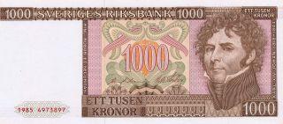 Sveriges Riksbank Sweden 1000 Kronor Nd Unc photo