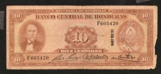 Honduras 10 Lempiras 1970 P57 Cabanas Portrait / Ruins,  Bank photo