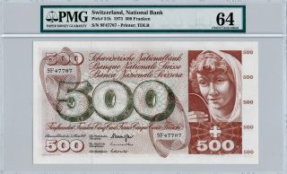 National Bank Switzerland 500 Franken 1973 Pmg 64 photo