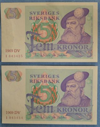 Sweden 2x 5 Kronor 1969 - Consecutive Numbers - P - 51a Unc photo