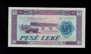 Albania 5 Leke 1964 Eq Pick 35 Unc. photo