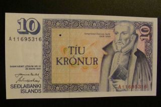 Iceland 10 Kronur 1961 Gem Unc photo