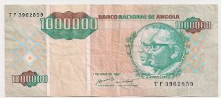 Angola 1,  000,  000 Kwanzas Reajustadas May 01 1995 Fine,  P141 photo