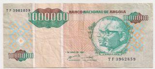 Angola 1,  000,  000 Kwanzas Reajustadas May 01 1995 Fine,  P141 photo