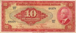 Turkey 10 Lira 1930 Turkish Very Fine Note (stock 0796) photo